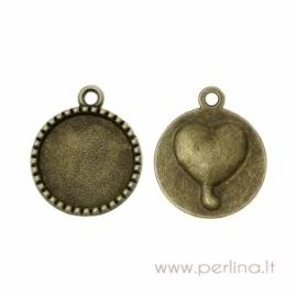 "Pakabukas kabošonui ""Širdis"", ant. bronzos sp., 26x22 mm"