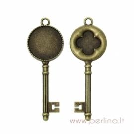 """Pakabukas kabošonui """"Raktas"""", ant. bronzos sp., 6,2x2,2 cm"""