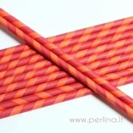 Popierinis šiaudelis, dryžuotas, raudona-persikinė sp., 1vnt