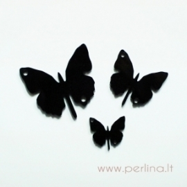"Org. stiklo detalė-intarpas ""Drugelis 1"", juodos sp., 2x1,8 cm"