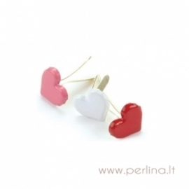 "Painted Metal Paper Fasteners ""Hearts - Red, White & Pink"", 50 pcs"