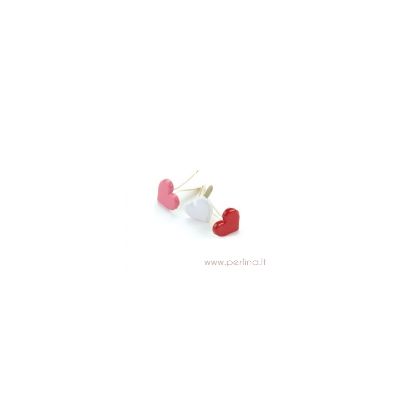 Creative Impressions Painted Metal Paper Fasteners 50//Package-Hearts-Red White and Pink