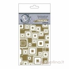 """Raštuoti skaidrūs plastikiniai lapeliai """"Gold Foiled"""", 6x9 cm, 6 vnt."""