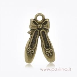 """Pakabukas """"Balerinos bateliai"""", ant. bronzos sp., 21x13 mm"""