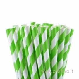 Popieriniai šiaudeliai, dryžuoti, jazmino žalia, 25 vnt