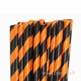 Popieriniai šiaudeliai, dryžuoti, oranžinė - juoda, 25 vnt