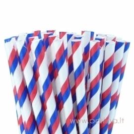 Popieriniai šiaudeliai, dryžuoti, raudona-mėlyna-balta, 25 vnt