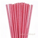 Popieriniai šiaudeliai, ševronas, raudona-balta, 25 vnt