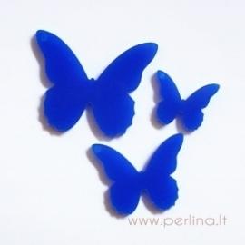 """Org. stiklo detalė-pakabukas """"Drugelis 4"""", mėlynas, 2x1,8 cm"""
