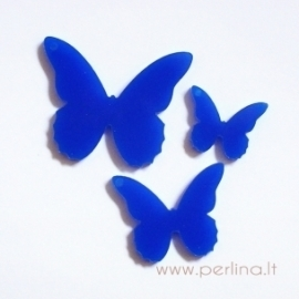 """Org. stiklo detalė-pakabukas """"Drugelis 4"""", mėlynas, 3x2,4 cm"""