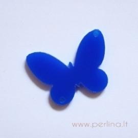 """Org. stiklo detalė-intarpas """"Drugelis 5"""", mėlynas, 3x2,2 cm"""