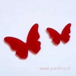"""Org. stiklo detalė-intarpas """"Drugelis 13"""", raudonas, 3,7x2,7 cm"""