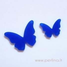 """Org. stiklo detalė-intarpas """"Drugelis 13"""", mėlynas, 2,5x1,8 cm"""