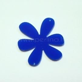 "Org. stiklo detalė-intarpas ""Gėlytė 1"", mėlynas, 4x4 cm"