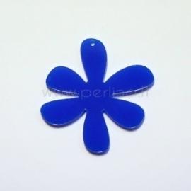 """Org. stiklo detalė-pakabukas """"Gėlytė 1"""", mėlynas, 4x4 cm"""