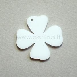 """Org. stiklo detalė-pakabukas """"Gėlytė 3"""", baltas, 3,1x3 cm"""