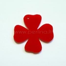 """Org. stiklo detalė-pakabukas """"Gėlytė 3"""", raudonas, 3,1x3 cm"""