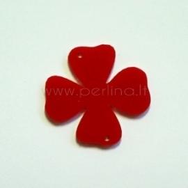 """Org. stiklo detalė-intarpas """"Gėlytė 3"""", raudonas, 3,1x3 cm"""