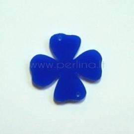 "Org. stiklo detalė-intarpas ""Gėlytė 3"", mėlyna, 3,1x3 cm"