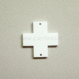 "Org. stiklo detalė-intarpas ""Kryžius"", baltas, 3x3 cm"