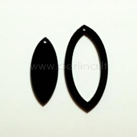 """Org. stiklo detalė-pakabukas """"Lašas"""", juodas, 4x2 cm"""
