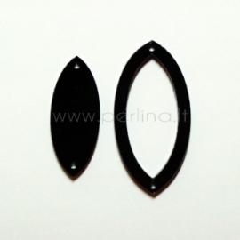 """Org. stiklo detalė-intarpas """"Lašas"""", juodas, 4x2 cm"""