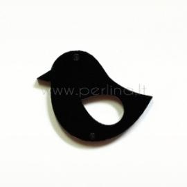 """Org. stiklo detalė-intarpas """"Paukštelis 2"""", juodas, 3,3x2,8 cm"""
