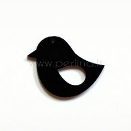 """Org. stiklo detalė-pakabukas """"Paukštelis 2"""", juodas, 3,3x2,8 cm"""