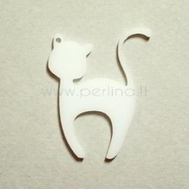 """Org. stiklo detalė-pakabukas """"Katinėlis 1"""", baltas, 4x3,2 cm"""