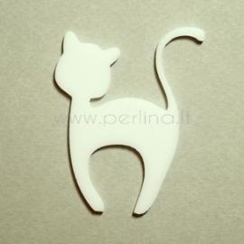 """Org. stiklo detalė """"Katinėlis 1"""", balta, 6x4,7 cm"""