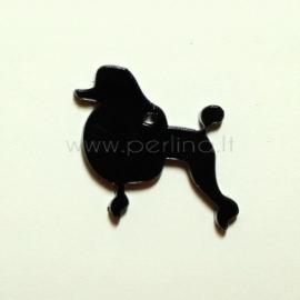 """Org. stiklo detalė-pakabukas """"Pudelis"""", juodos sp., 3,5x3 cm"""