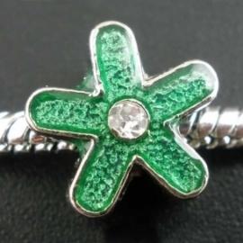 """Pandora karoliukas """"Gėlė"""", emaliuotas, žalias, 12x6 mm"""