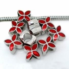 """Pandora karoliukas """"Keturlapė gėlė"""", emaliuotas, bordo, 13x10 mm"""