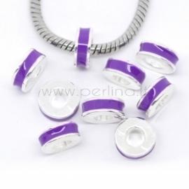 Pandora karoliukas, emaliuotas, violetinis, 11x4,5 mm
