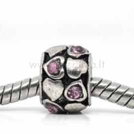 "Pandora karoliukas ""Širdelė"", su kristalais, 9x6 mm"