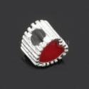 """Pandora karoliukas """"Širdis"""", emaliuotas, raudonas, 11x10 mm"""