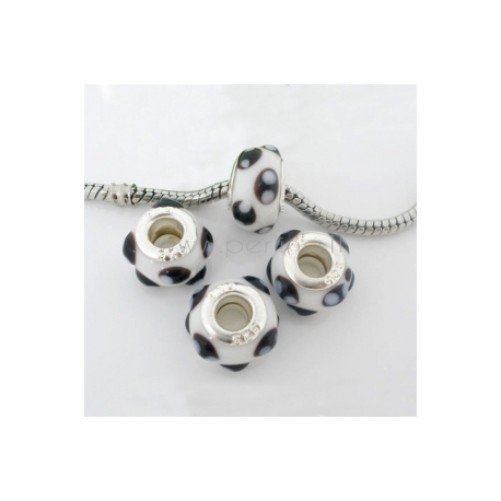 Pandora karoliukas, lampwork, baltas, 14x10 mm