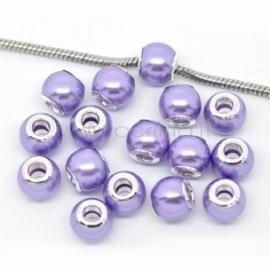 Pandora karoliukas, akrilinis, violetinis, 12x10 mm