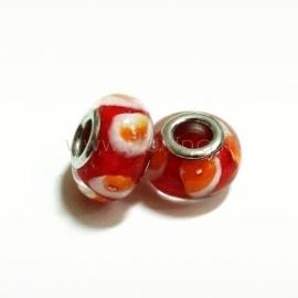 Pandora karoliukas, lampwork, raudonas, 14x9 mm