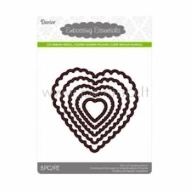 Die cut stencil scallop heart, 103x101 mm, 5 pc