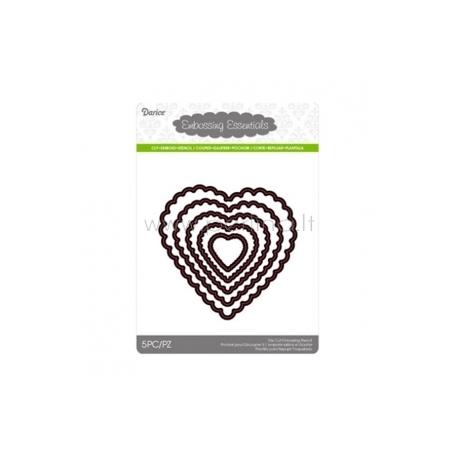 """Kirtimo formelės """"Die cut stencil scallop heart"""", 103x101 mm, 5 vnt."""