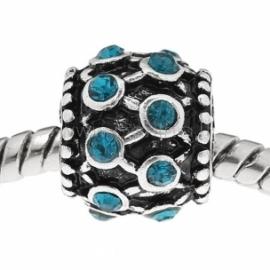 Pandora karoliukas, su žydrais kristalais, 11x9 mm