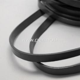 Natūralios odos dirželis, juodos sp., 10x2,5 mm, 50 cm
