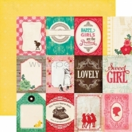 "Popierius ""3x4 Journaling Cards - Jack and Jill Girl Collection"", 30,5x30,5 cm"