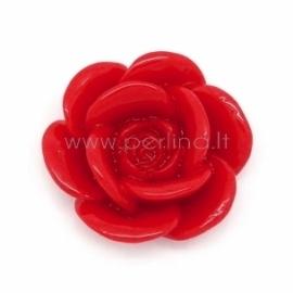 Akrilinis kabošonas-gėlė, raudona sp., 17x16 mm