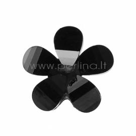 Akrilinė gėlytė, briaunuota, juoda, 12x12 mm