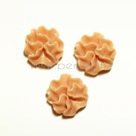 Akrilinis kabošonas-gėlė, kreminė-rožinė sp., 12 mm