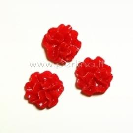 Akrilinis kabošonas-gėlė, raudonos sp., 12 mm