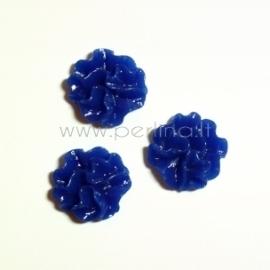 Akrilinis kabošonas-gėlė, mėlynos sp., 12 mm