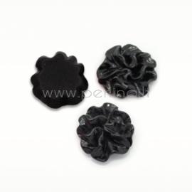 Akrilinis kabošonas-gėlė, juodos sp., 12 mm